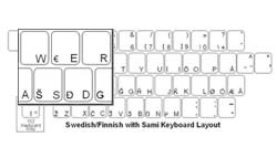 Swedish with Sami Language Keyboard Labels